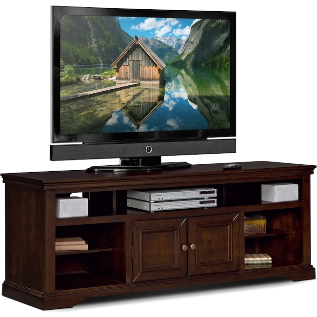 Jenson 70 Tv Stand Cherry Value City Furniture And Mattresses