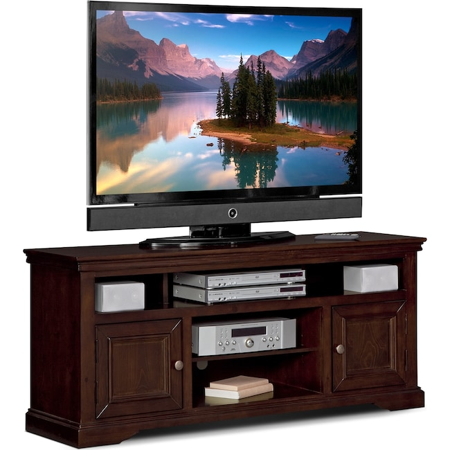 Jenson 60 Tv Stand Cherry Value City Furniture And Mattresses
