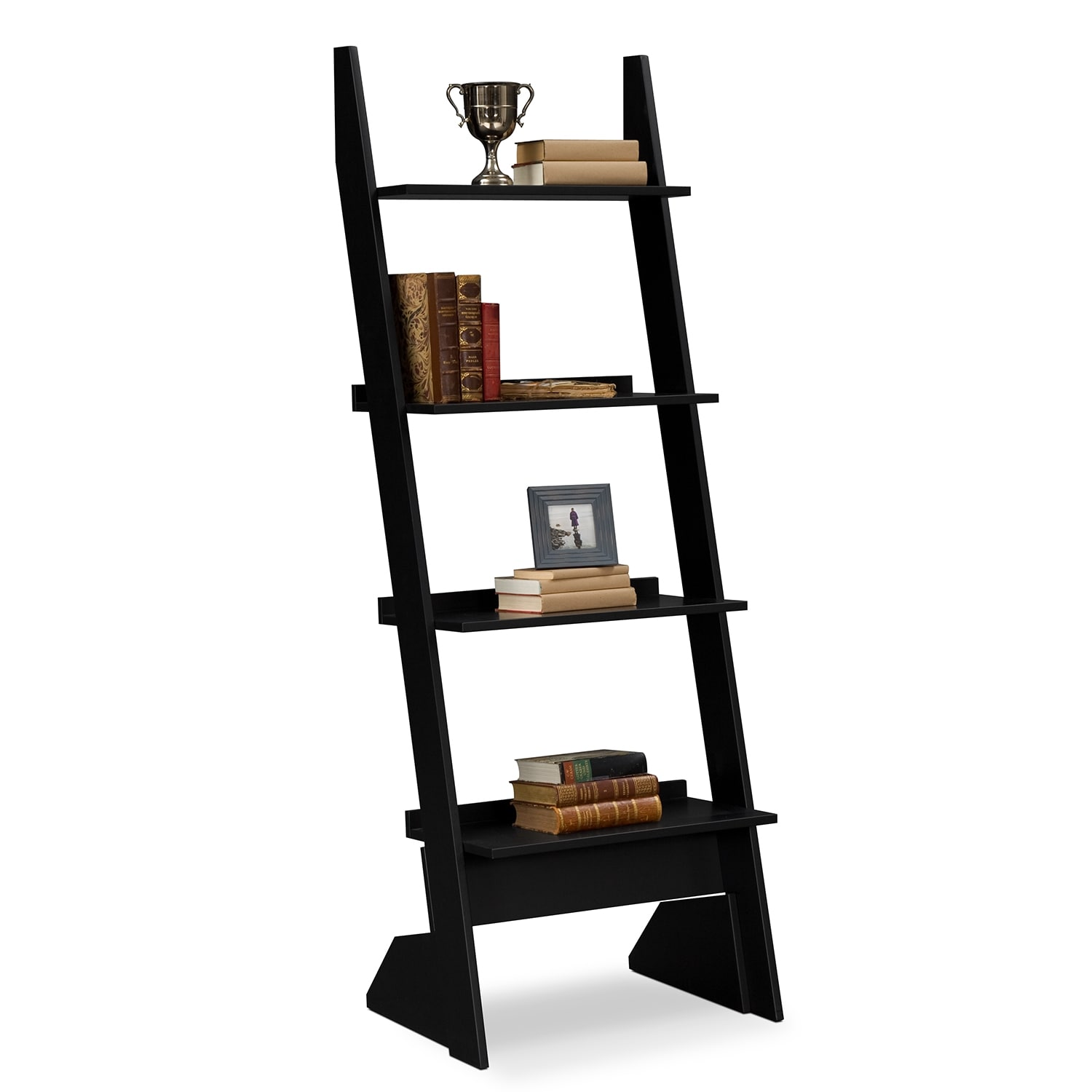 Accent and Occasional Furniture - Plantation Cove Leaning Bookshelf - Black