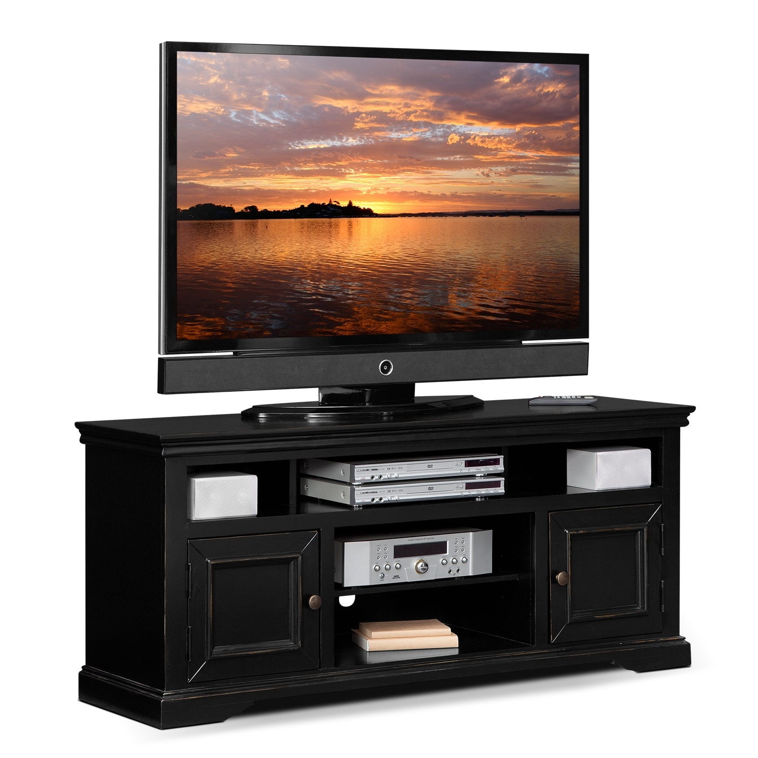 Jenson 60 Tv Stand Black Value City Furniture And Mattresses