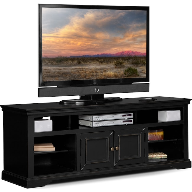 Jenson 70 Tv Stand Black Value City Furniture And Mattresses