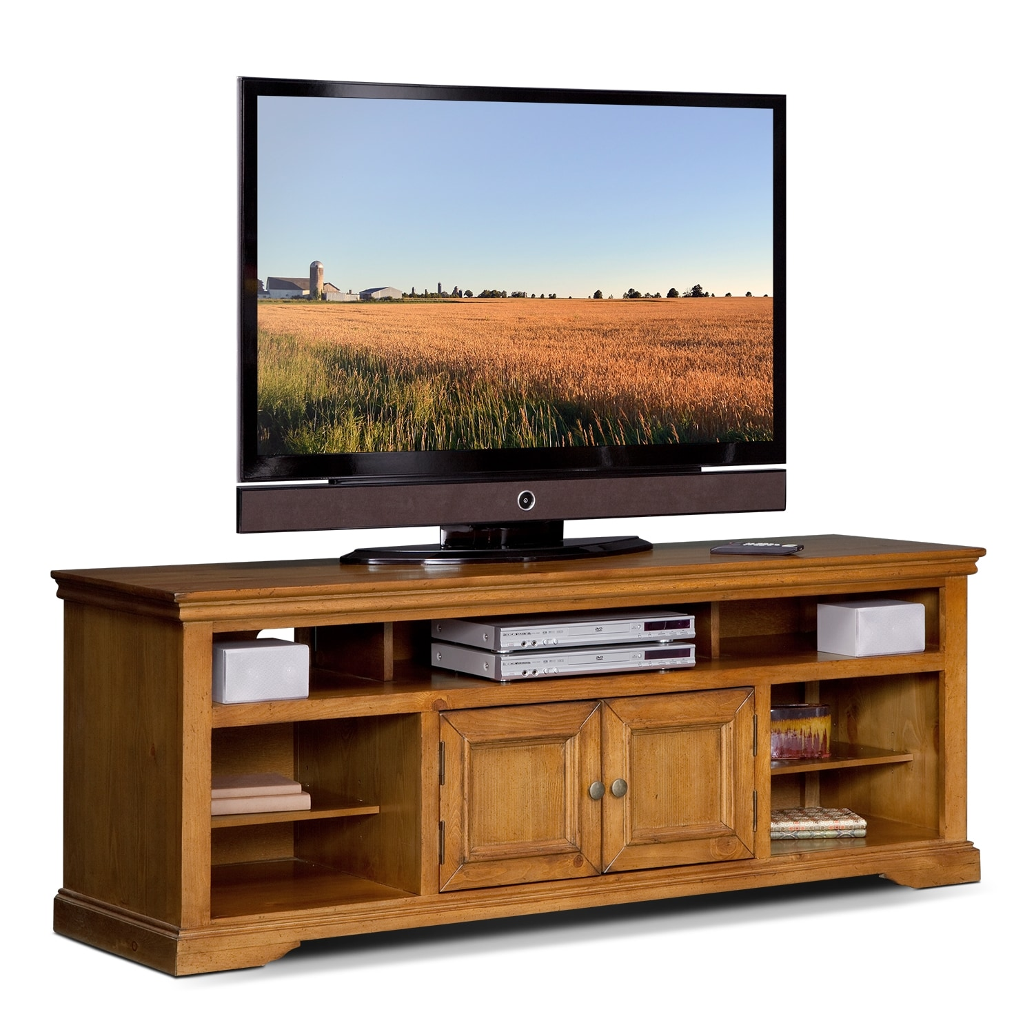Jenson 70 Tv Stand Pine Value City Furniture And Mattresses