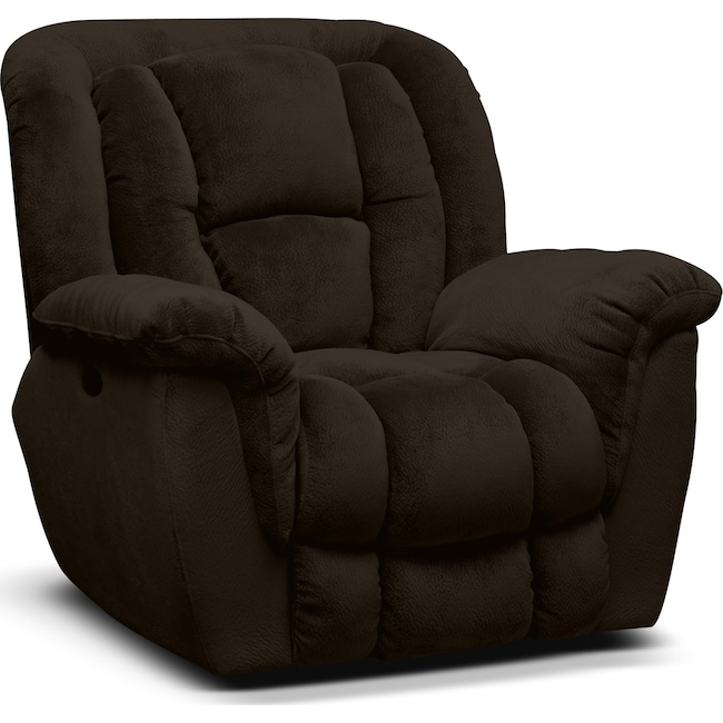 Living Room Furniture - Mammoth Power Recliner - Chocolate