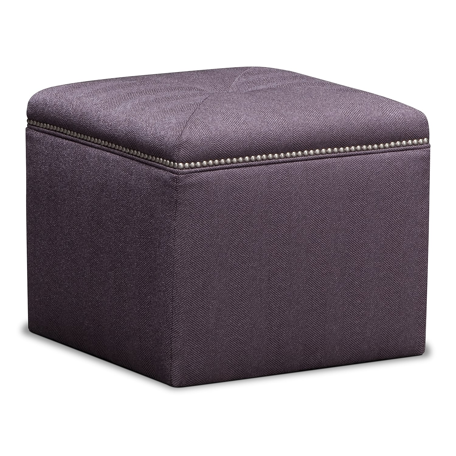 Living Room Furniture - Ritz Cube Ottoman - Lavender