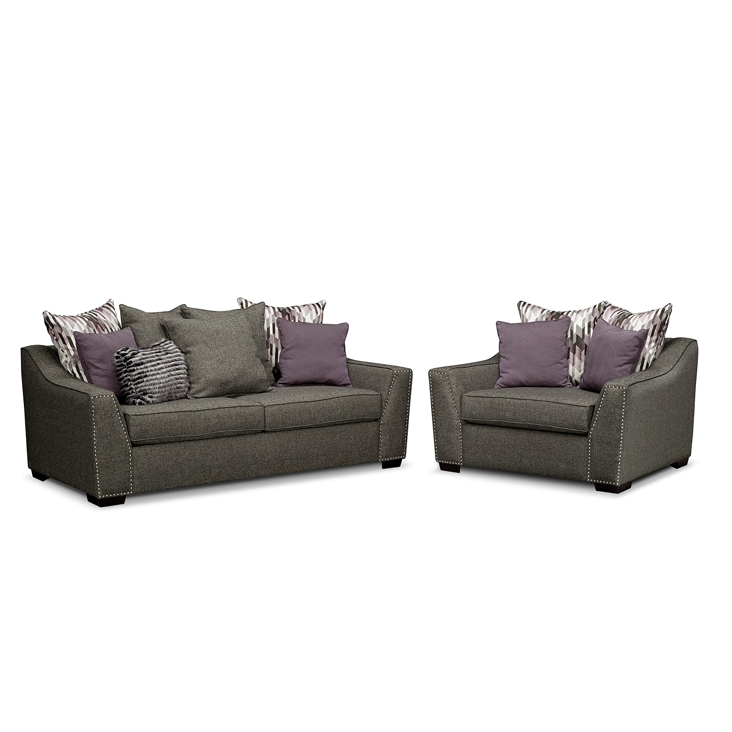 Living Room Furniture - Ritz 2 Pc. Living Room w/Chair and a Half