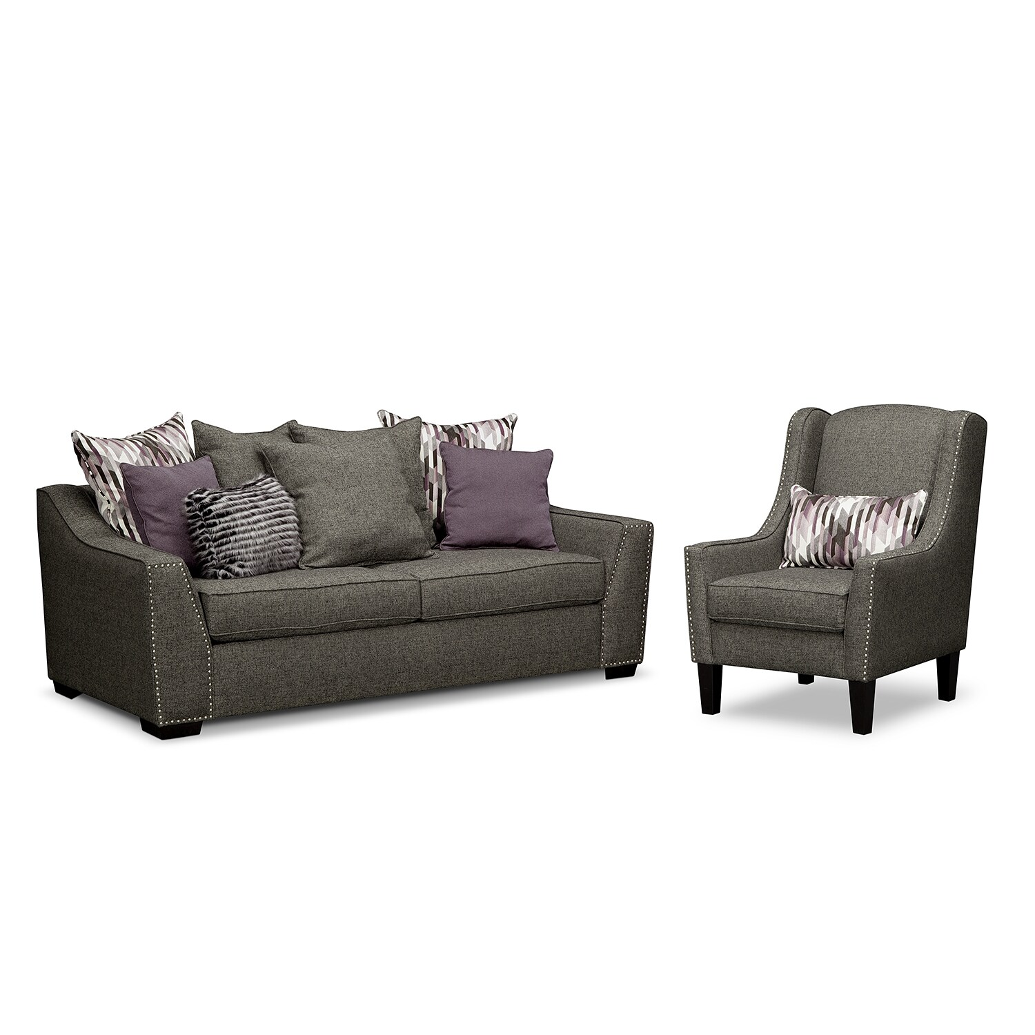 Living Room Furniture - Ritz 2 Pc. Living Room w/Accent Chair