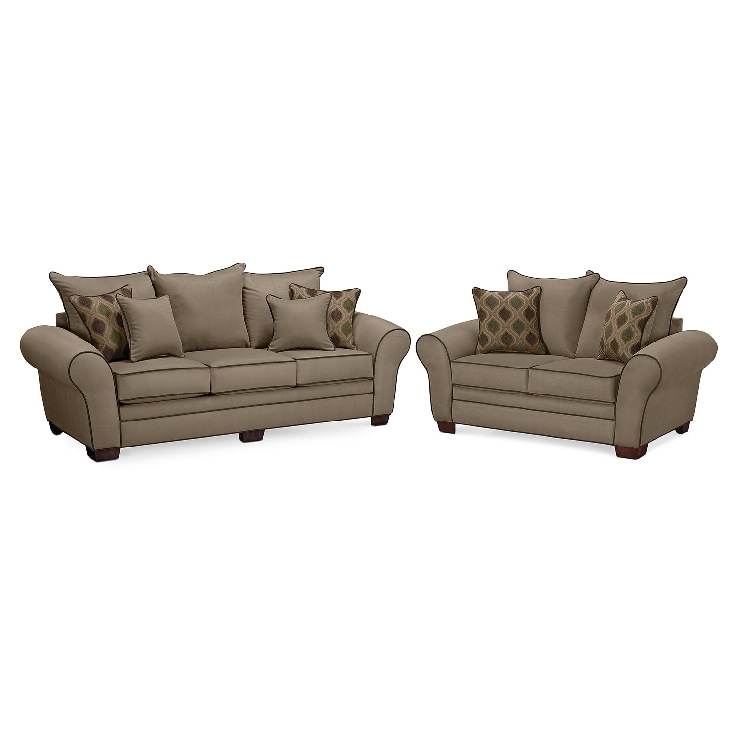 Rendezvous Sofa and Loveseat Set - Tan