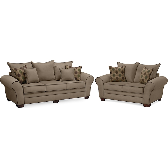 Living Room Furniture - Rendezvous Sofa and Loveseat Set - Tan