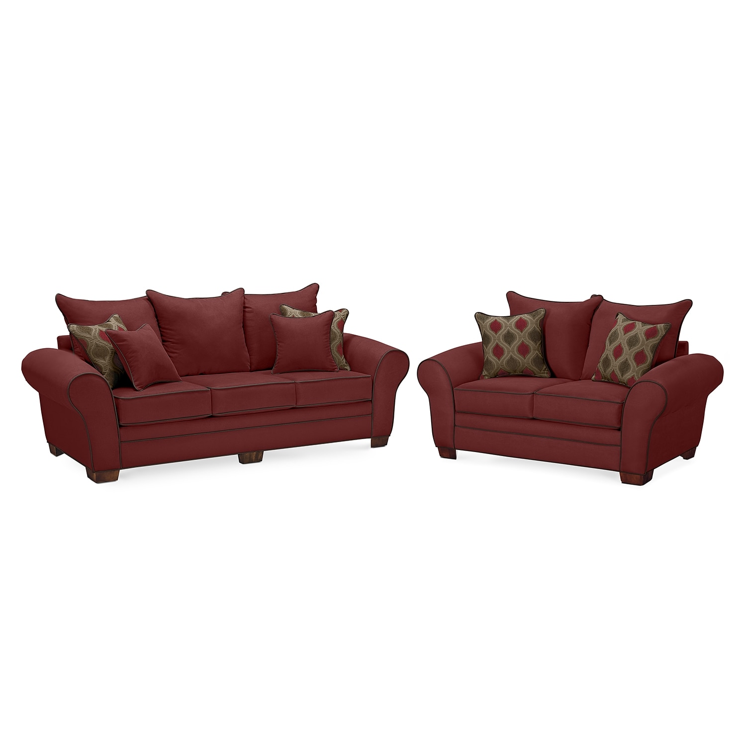 Living Room Furniture - Rendezvous Sofa and Loveseat Set - Wine