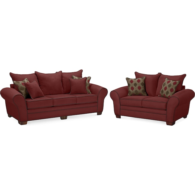 Living Room Furniture - Rendezvous Sofa and Loveseat Set - Wine