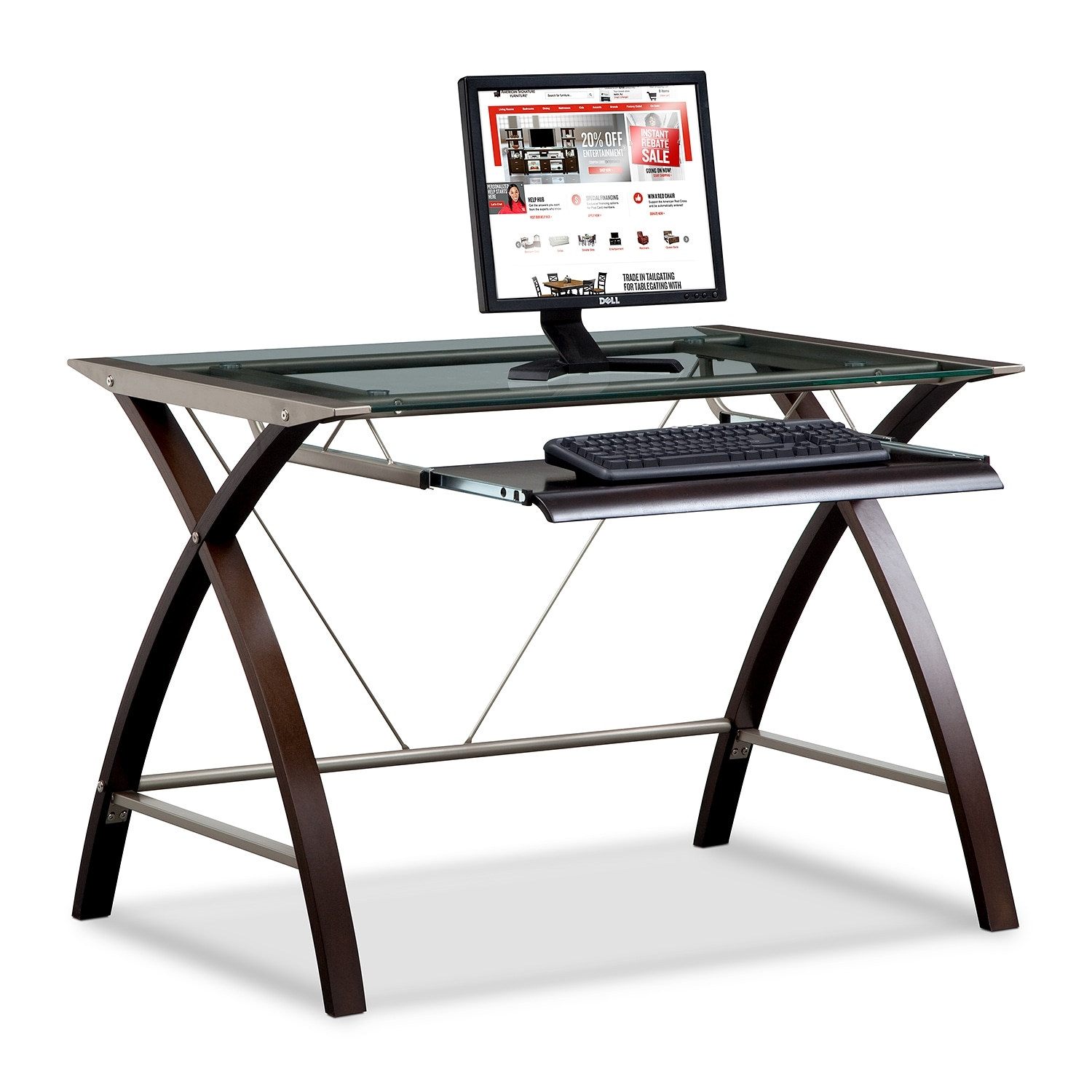 Home Office Furniture - Orion Computer Desk with Keyboard Tray - Merlot and Champagne