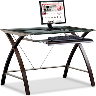 Orion Computer Desk with Keyboard Tray - Merlot and Champagne