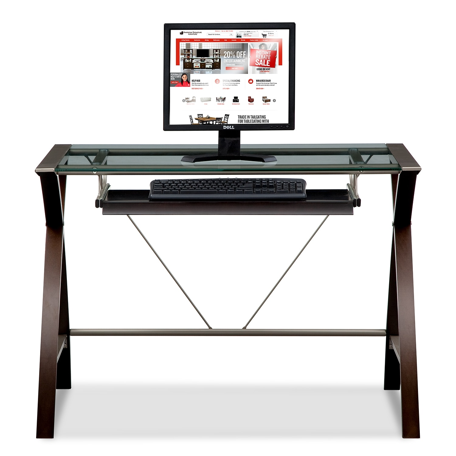 orion computer desk with keyboard tray  merlot and champagne  - click to change image