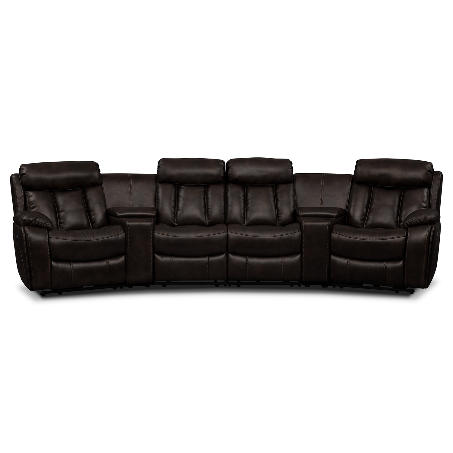 Diablo 6-Piece Power Reclining Sectional with 2 Armless Power Chairs - Walnut