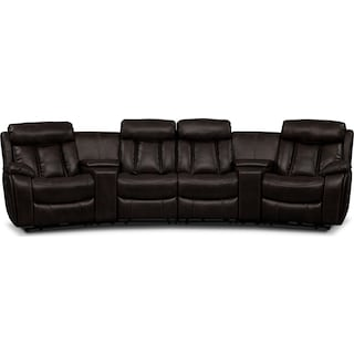 Diablo 6-Piece Power Reclining Sectional with 2 Armless Chairs - Walnut