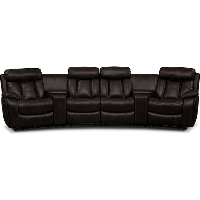 Living Room Furniture - Diablo 6-Piece Power Reclining Sectional with 4 Power Reclining Seats