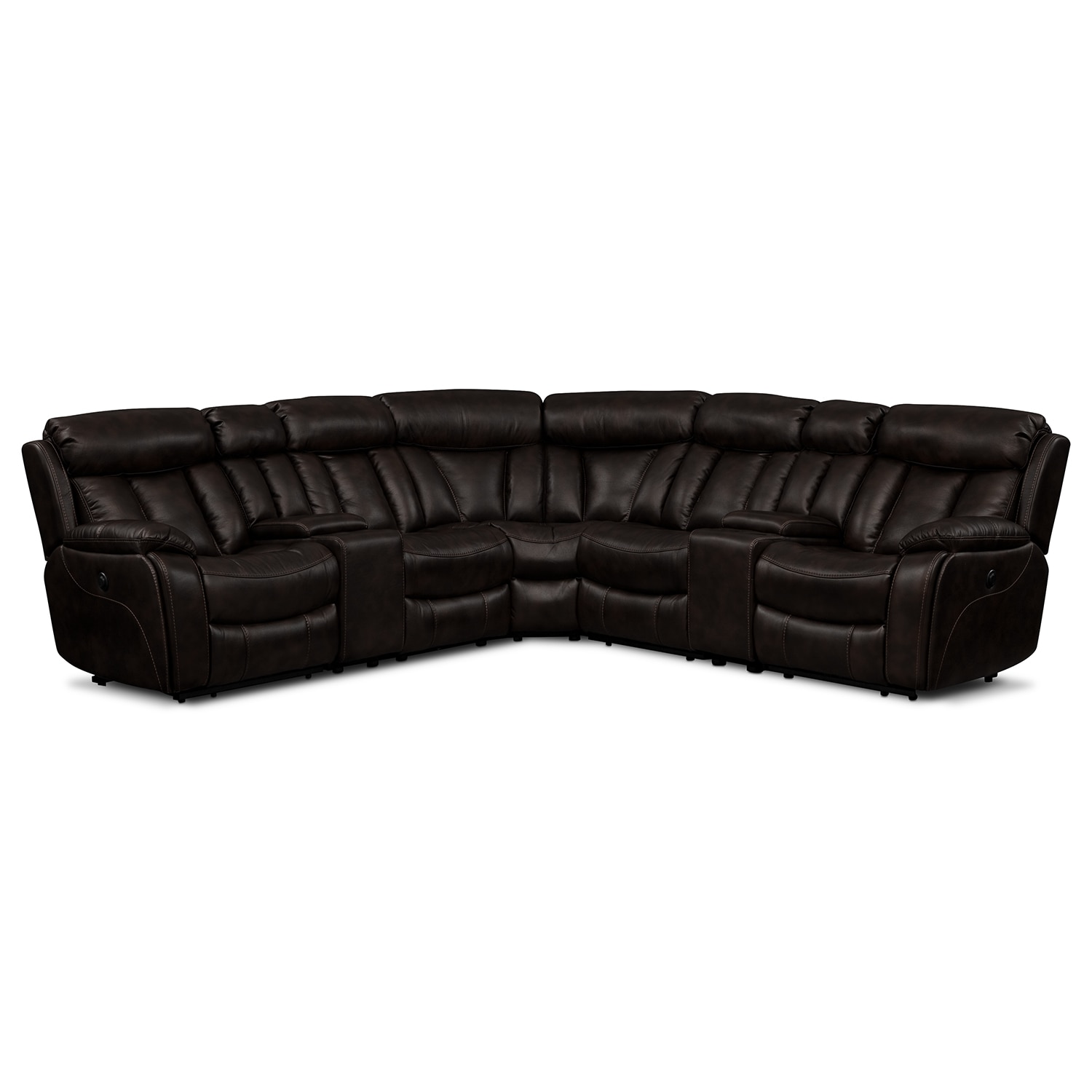Living Room Furniture - Diablo 7-Piece Power Reclining Sectional with Armless Recliner - Walnut