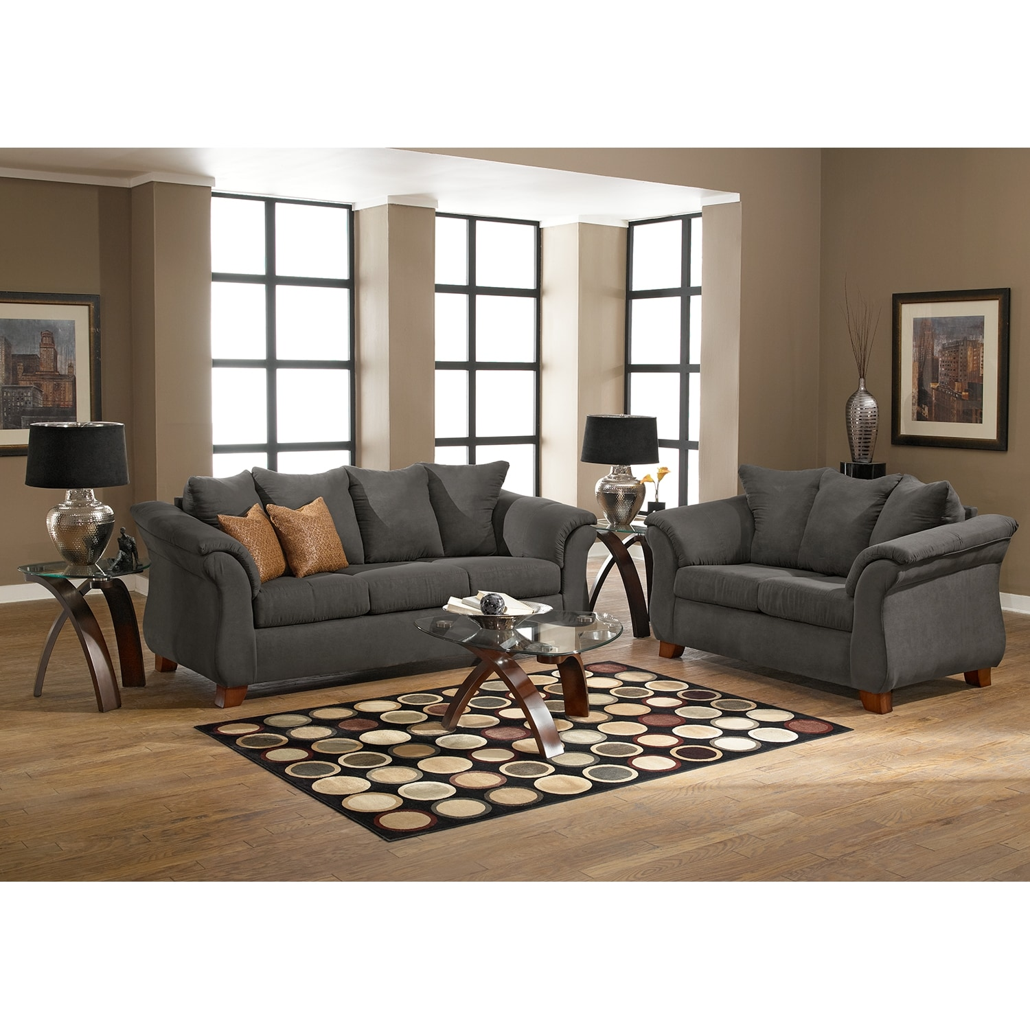 Adrian Sofa and Loveseat Set Graphite