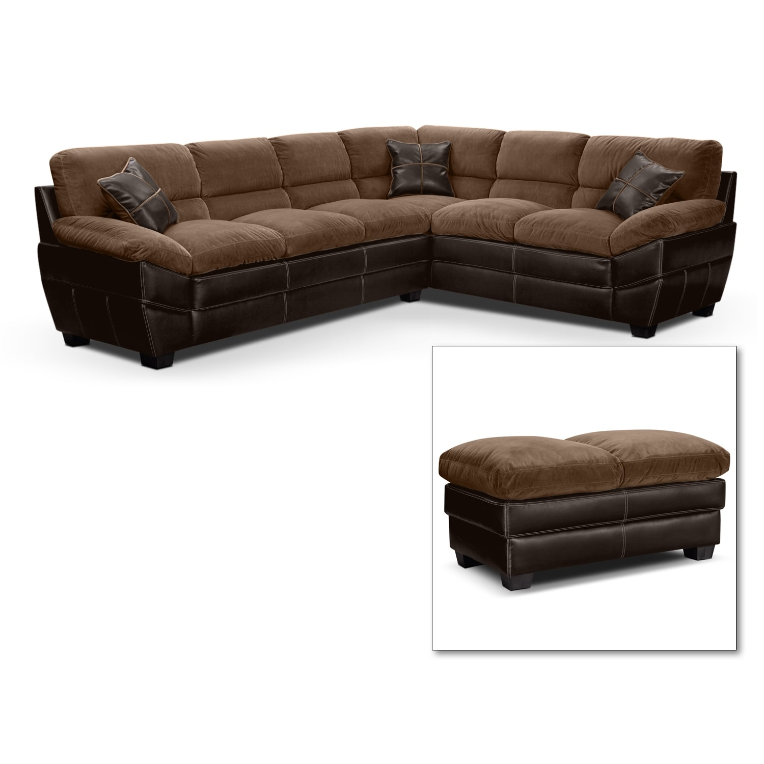 Living Room Furniture - Chandler Beige II 2 Pc. Sectional and Cocktail Ottoman