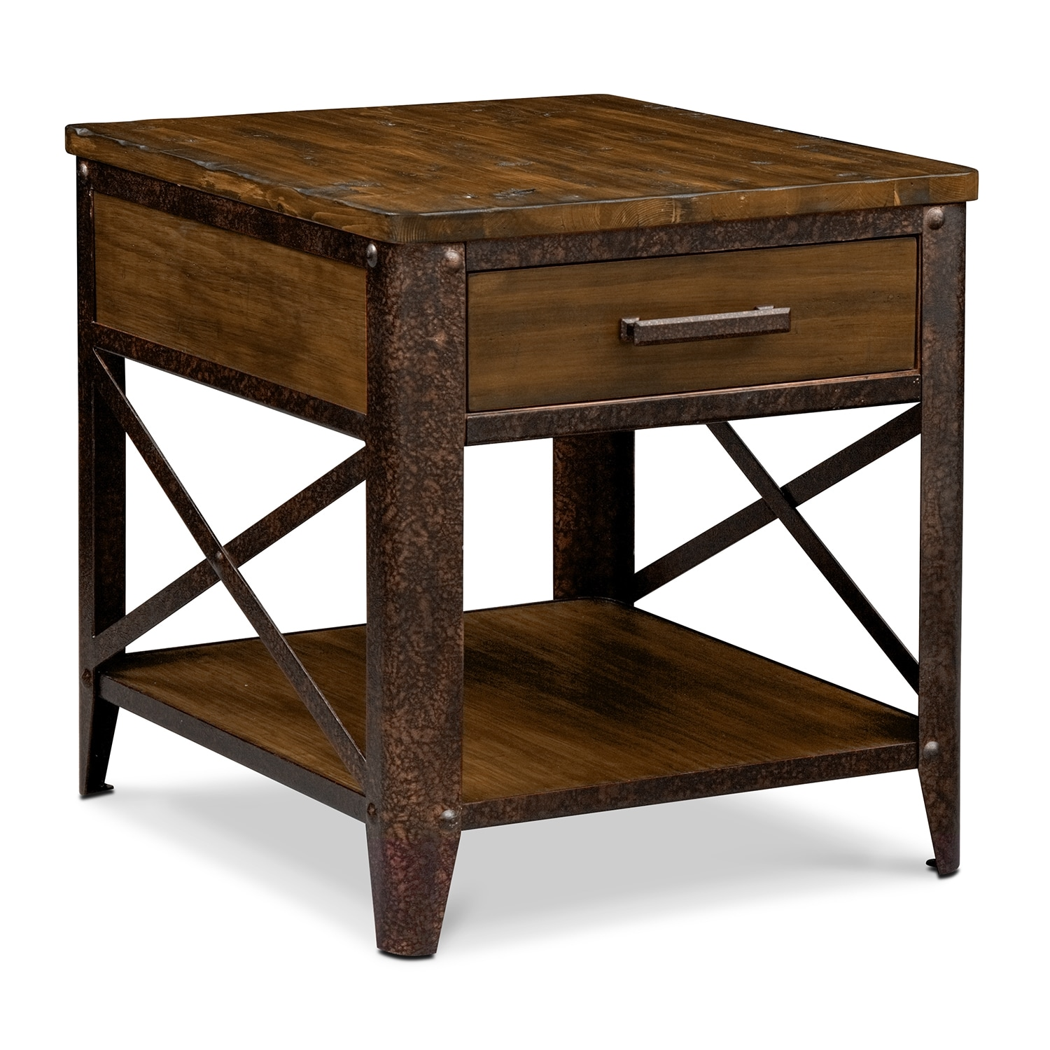 Shortline End Table Distressed Pine Value City Furniture