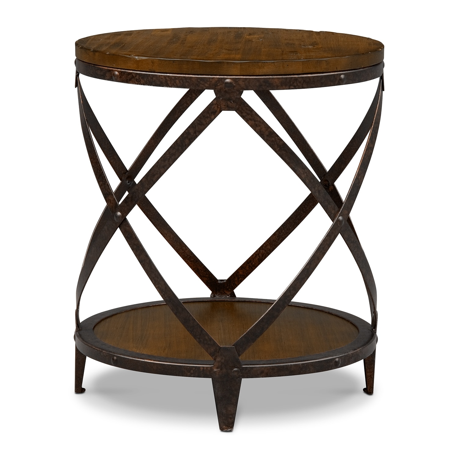 Shortline Round End Table - Distressed Pine