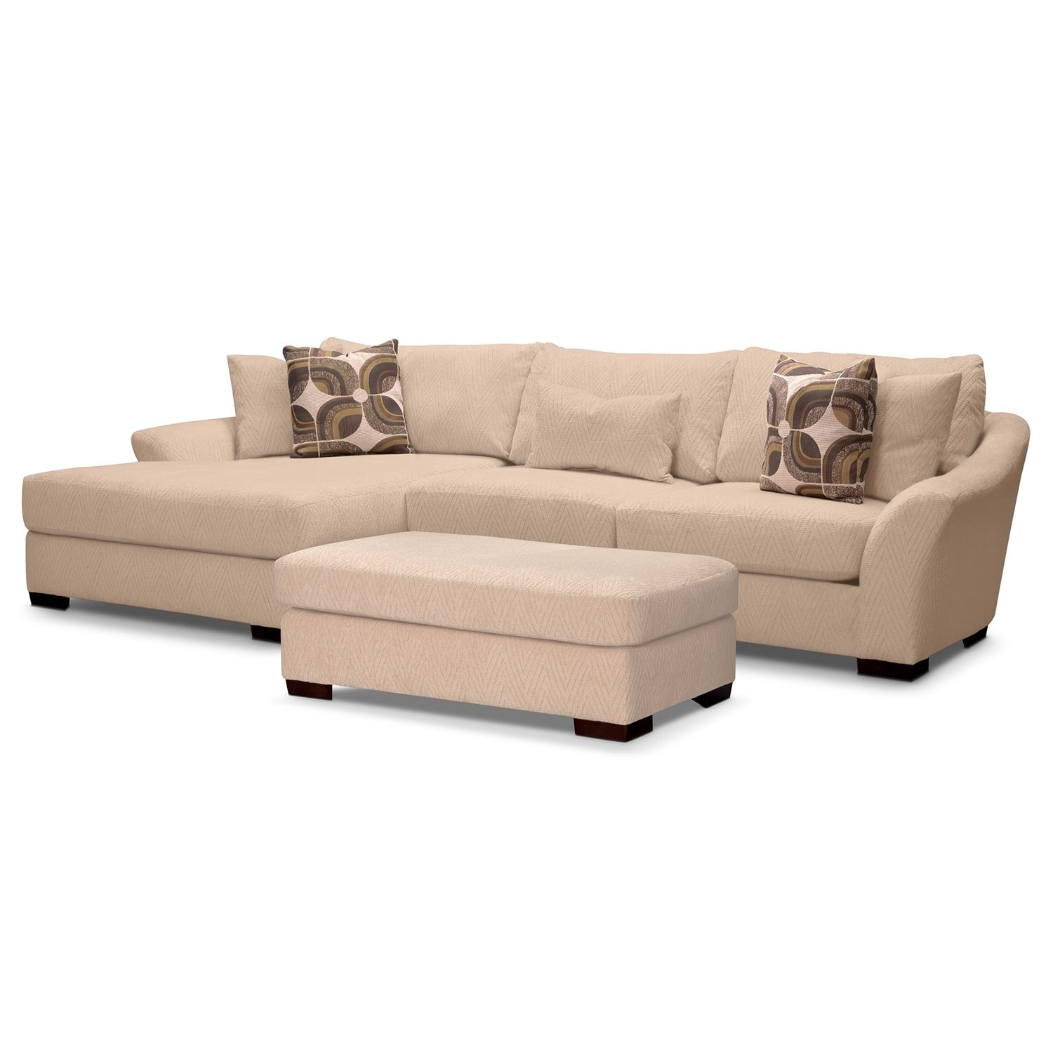 Living Room Furniture - Oasis II 2 Pc. Sectional and Ottoman