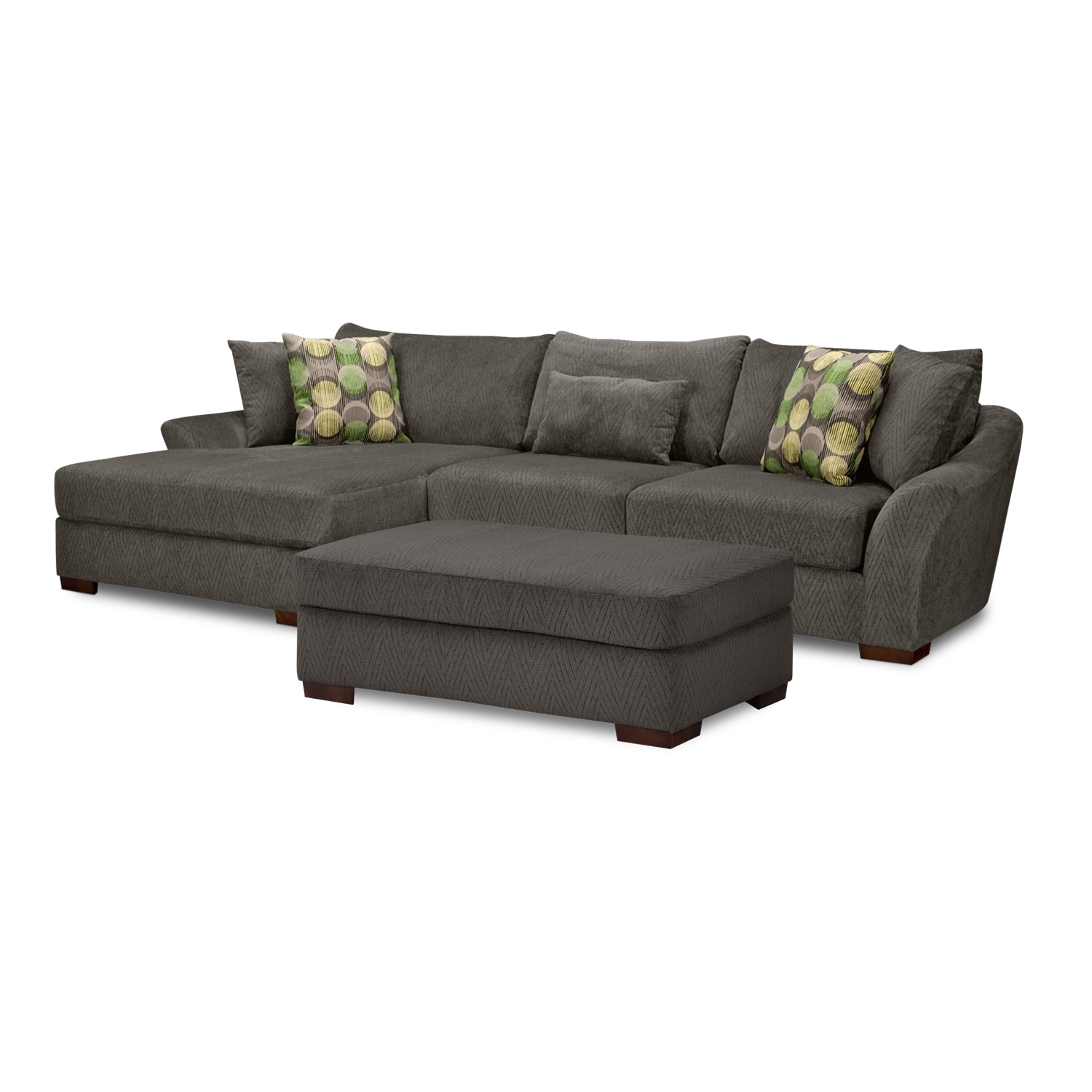 Living Room Furniture - Oasis 2 Pc. Sectional and Ottoman