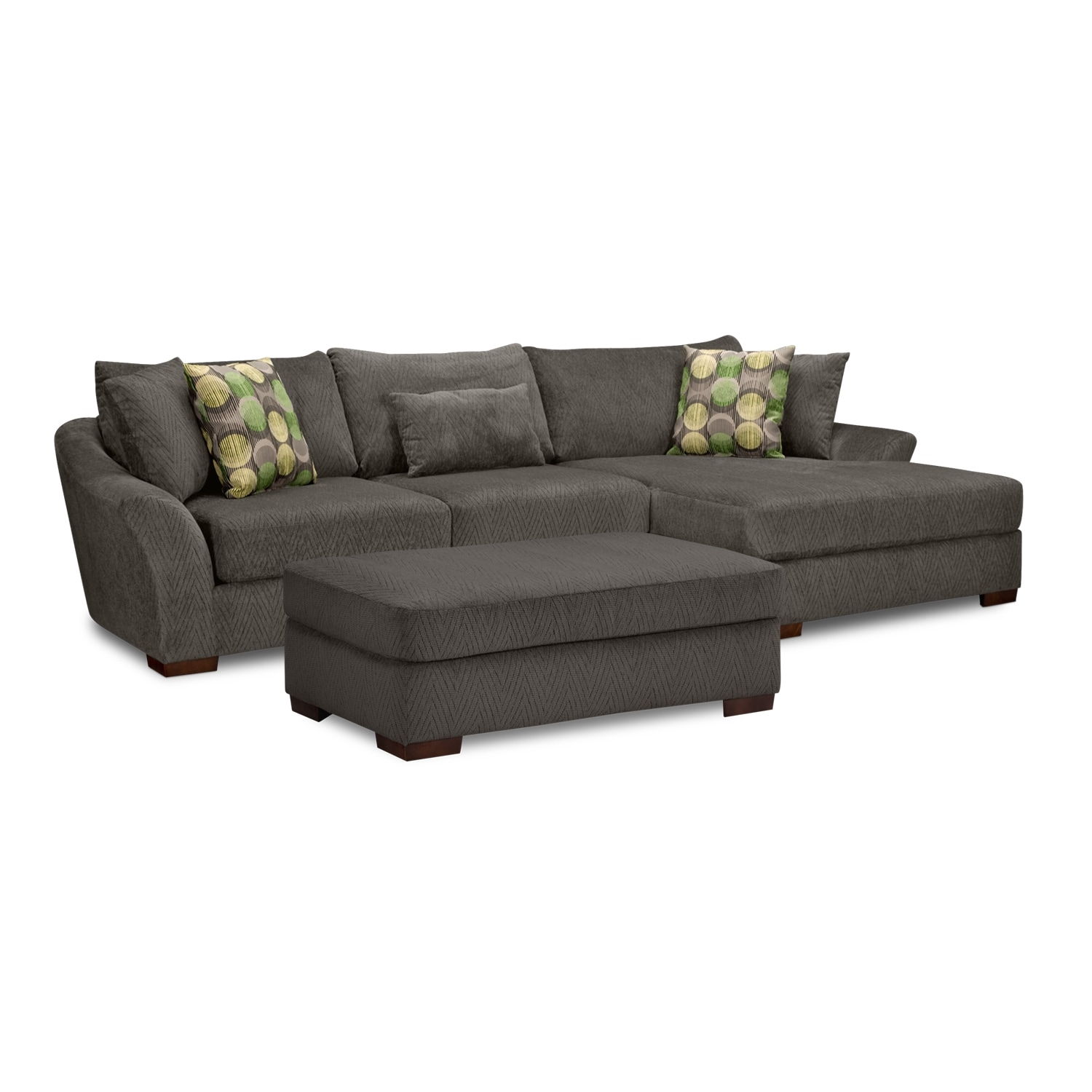 Living Room Furniture - Oasis 2 Pc. Sectional (Reverse) and Ottoman