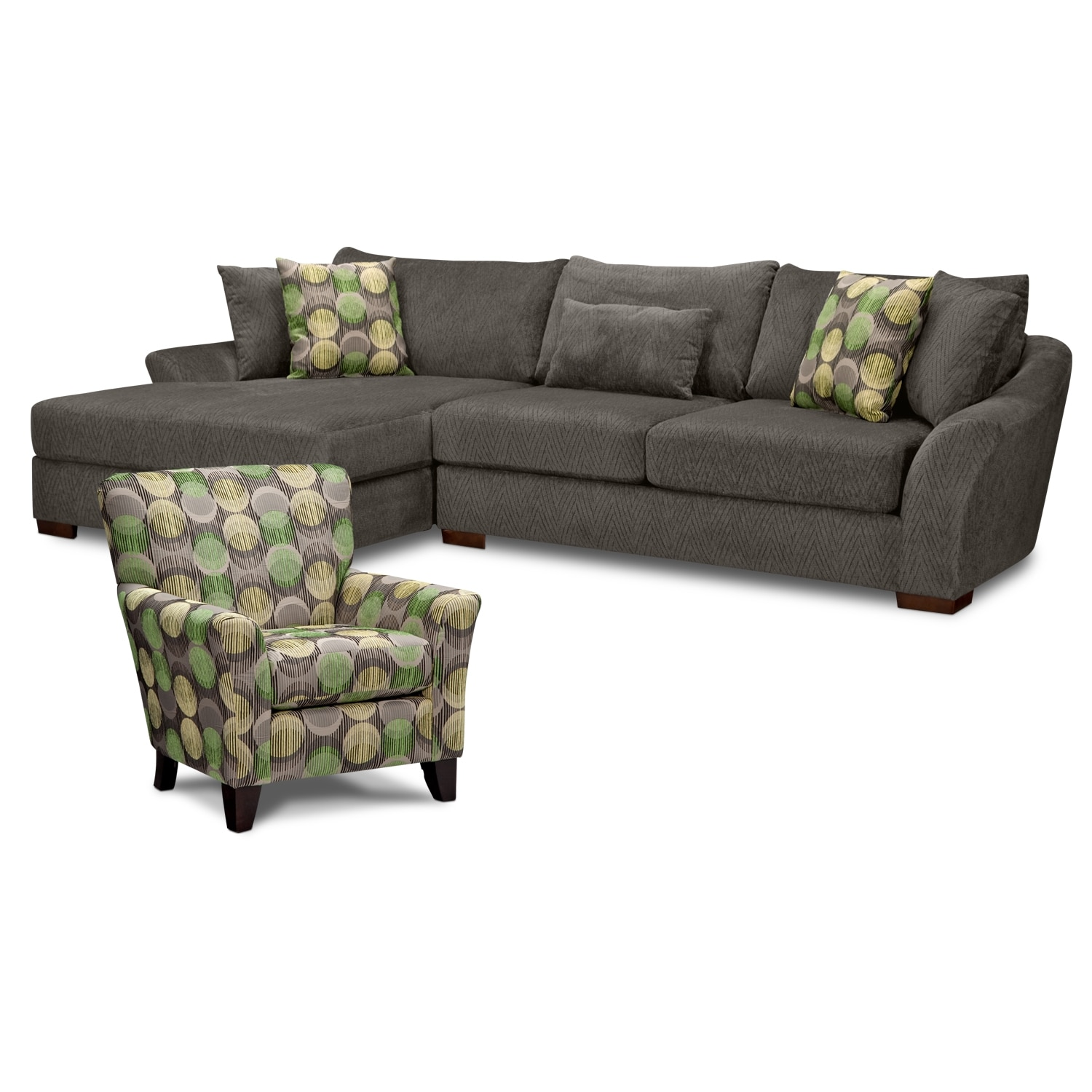 Living Room Furniture - Oasis 2 Pc. Sectional and Accent Chair
