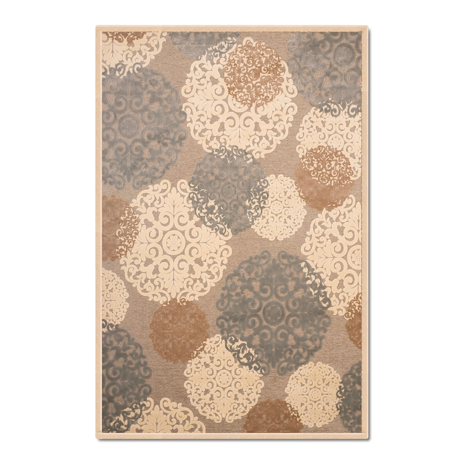 Rugs - Napa Light Snowflakes Area Rug - Ivory and Teal