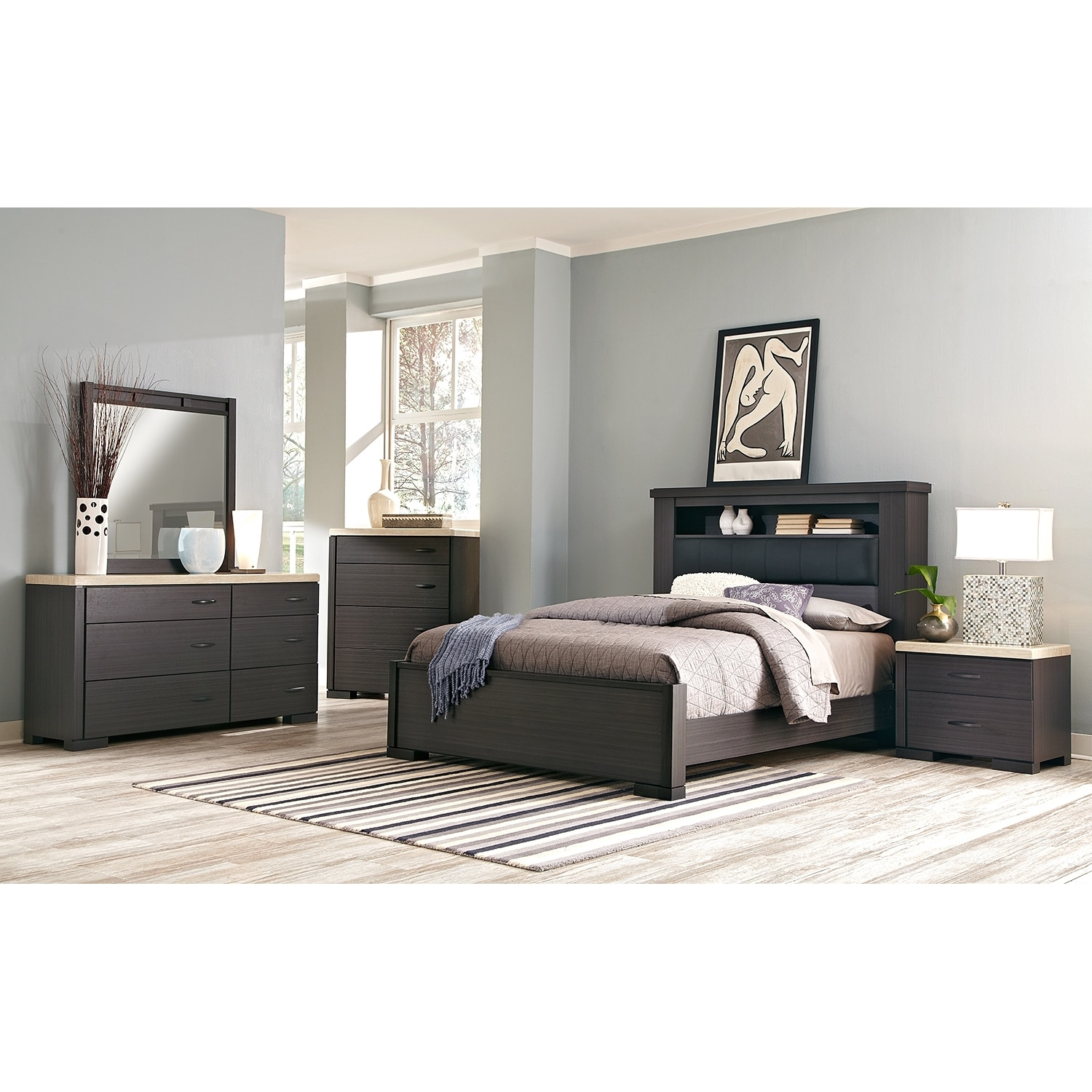 Bedroom Furniture - Camino 7-Piece Queen Bedroom Set - Charcoal and Ivory