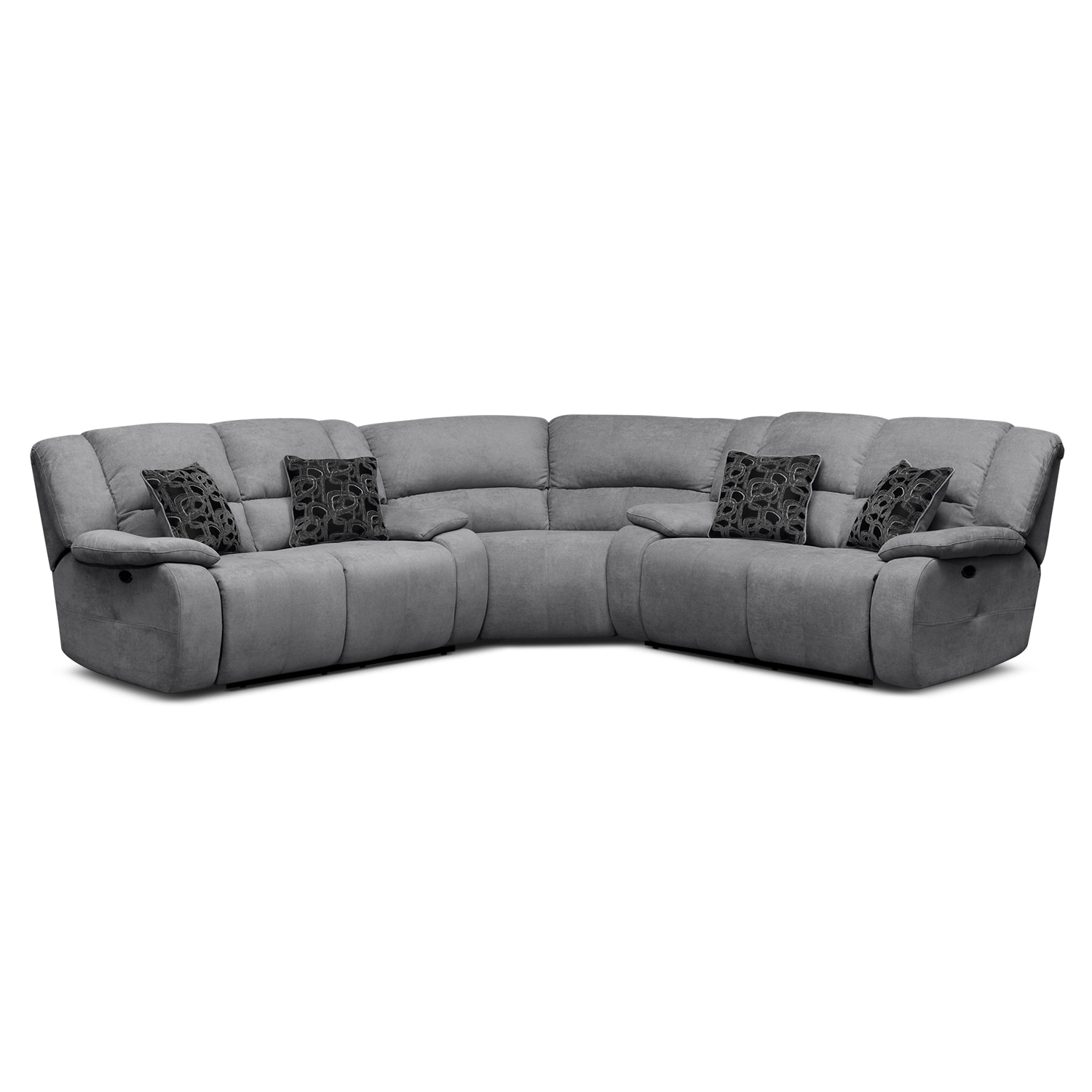 Living Room Furniture - Destin Gray II 3 Pc. Power Reclining Sectional (Alternate II)