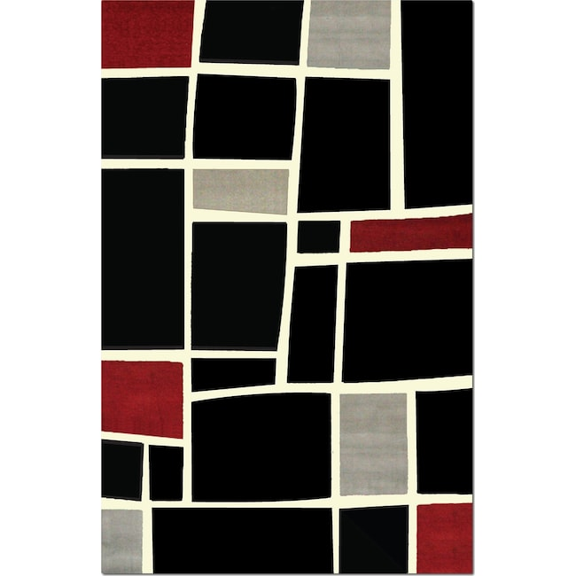 Rugs - Terra Squares 8' x 10' Area Rug - Black and Gray