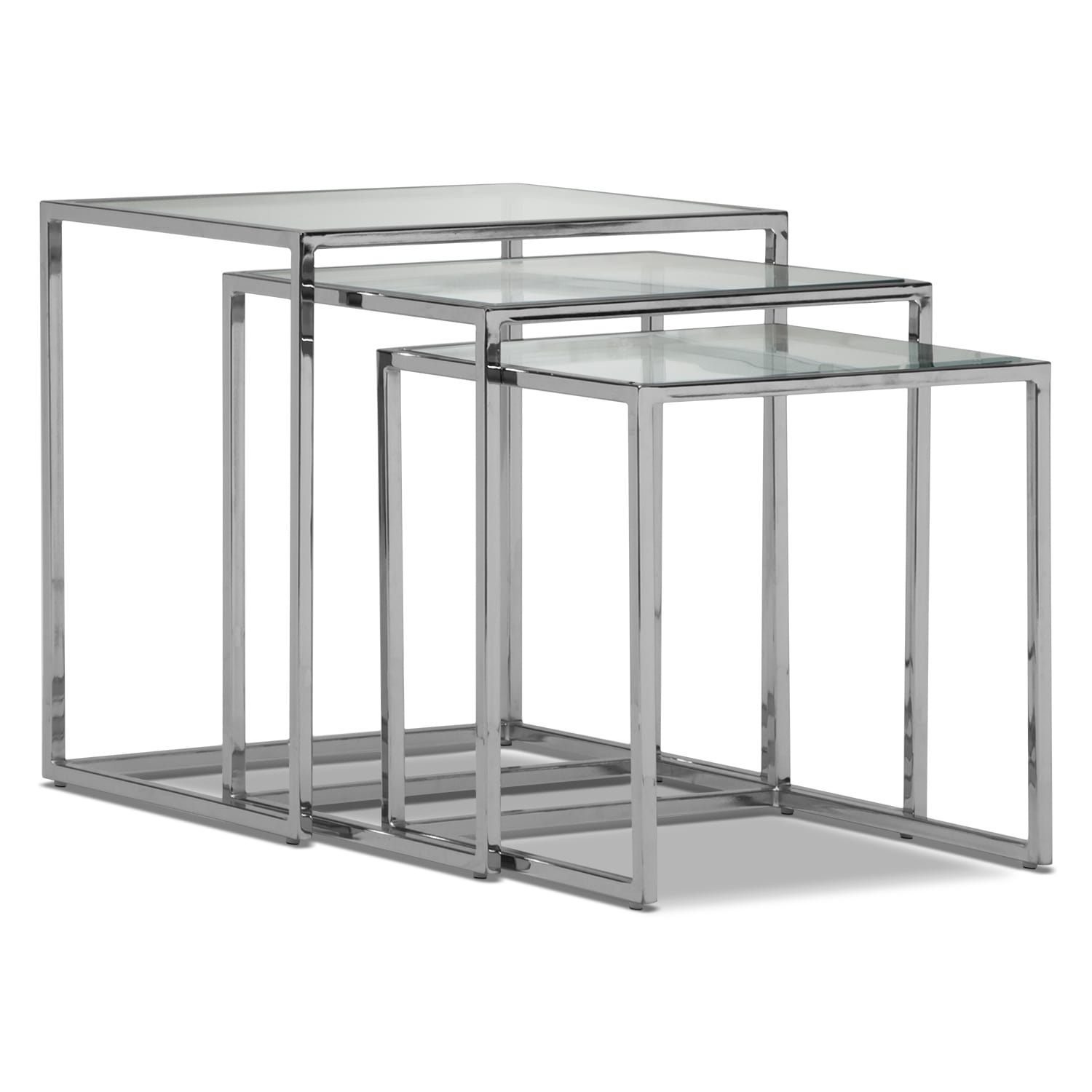 Accent and Occasional Furniture - Illusion Nesting Tables - Silver