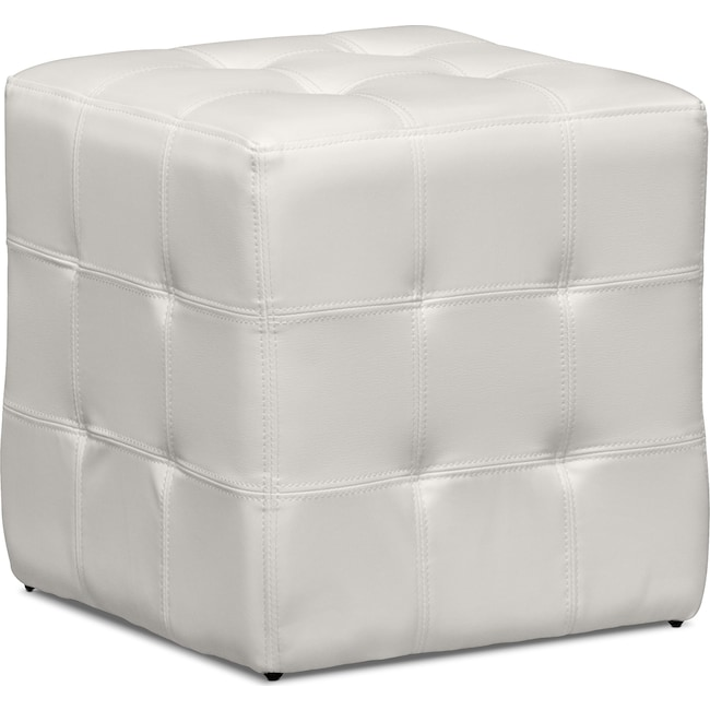 Accent and Occasional Furniture - Dylan Cube Ottoman - White