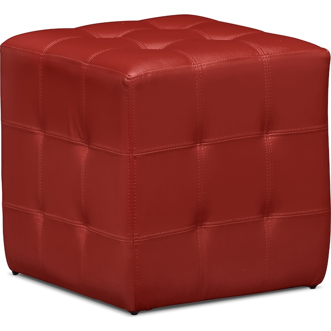 Accent and Occasional Furniture - Dylan Cube Ottoman - Red