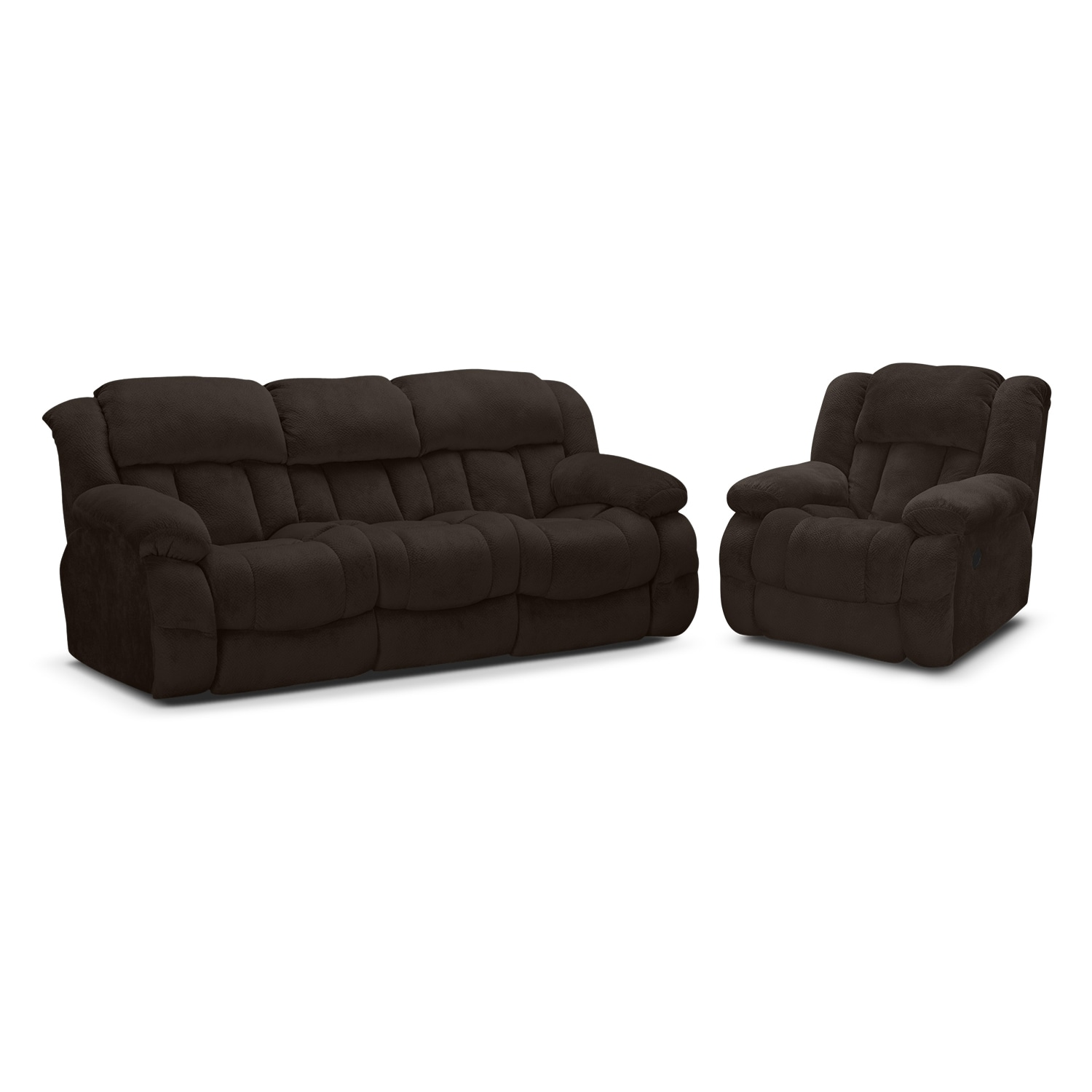 Living Room Furniture - Park City Dual Reclining Sofa and Glider Recliner Set - Chocolate