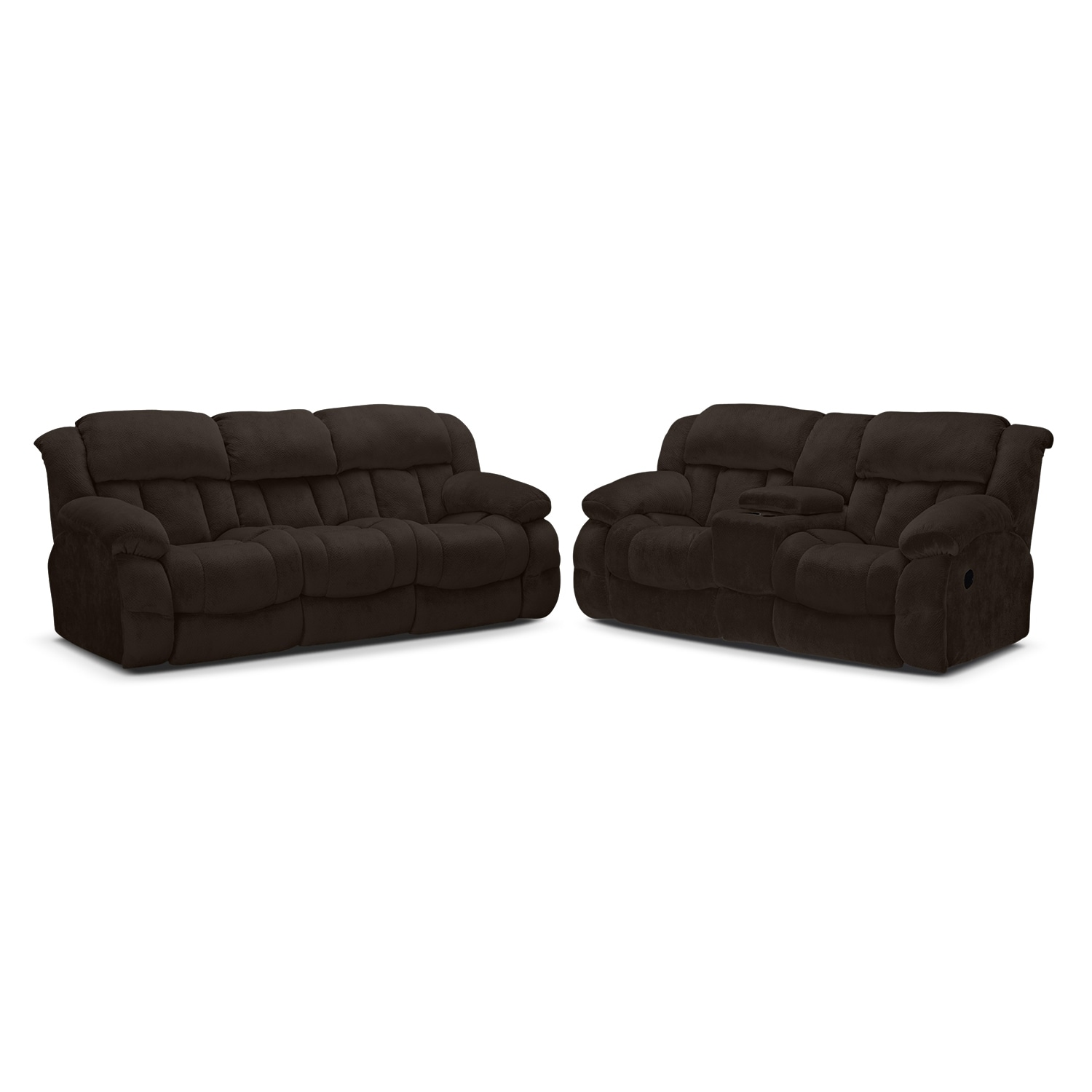 Living Room Furniture - Park City Dual Reclining Sofa and Loveseat Set - Chocolate