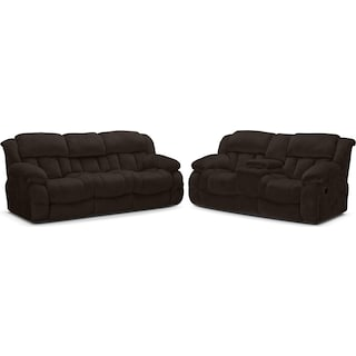 Park City Dual Reclining Sofa and Loveseat Set - Chocolate