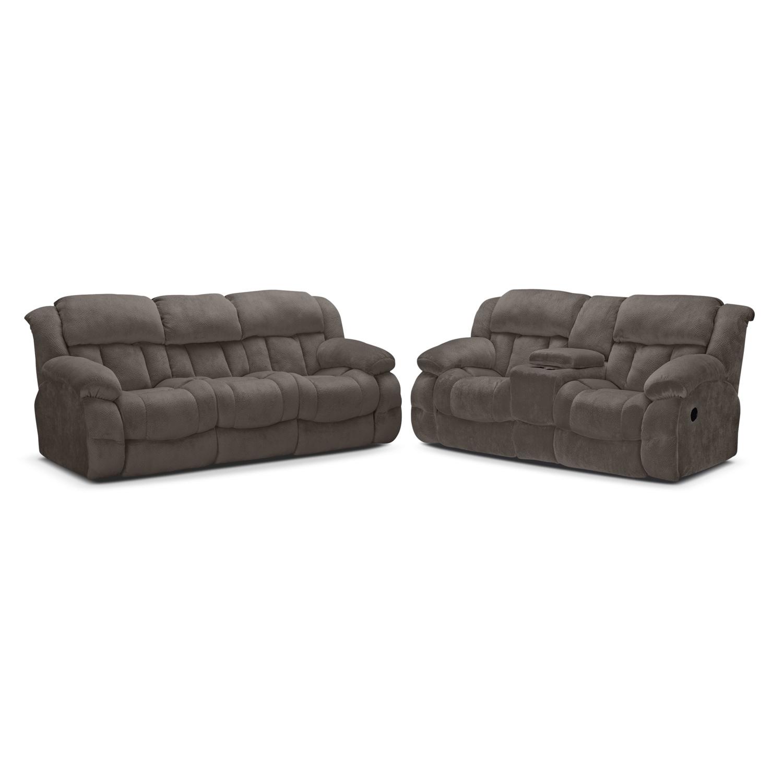 Park City Dual Reclining Sofa and Loveseat Set Gray Value City