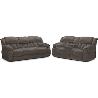 Park City Dual Reclining Sofa and Loveseat Set - Gray