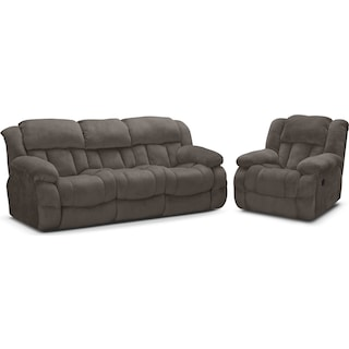 Park City Dual Reclining Sofa and Glider Recliner Set - Gray