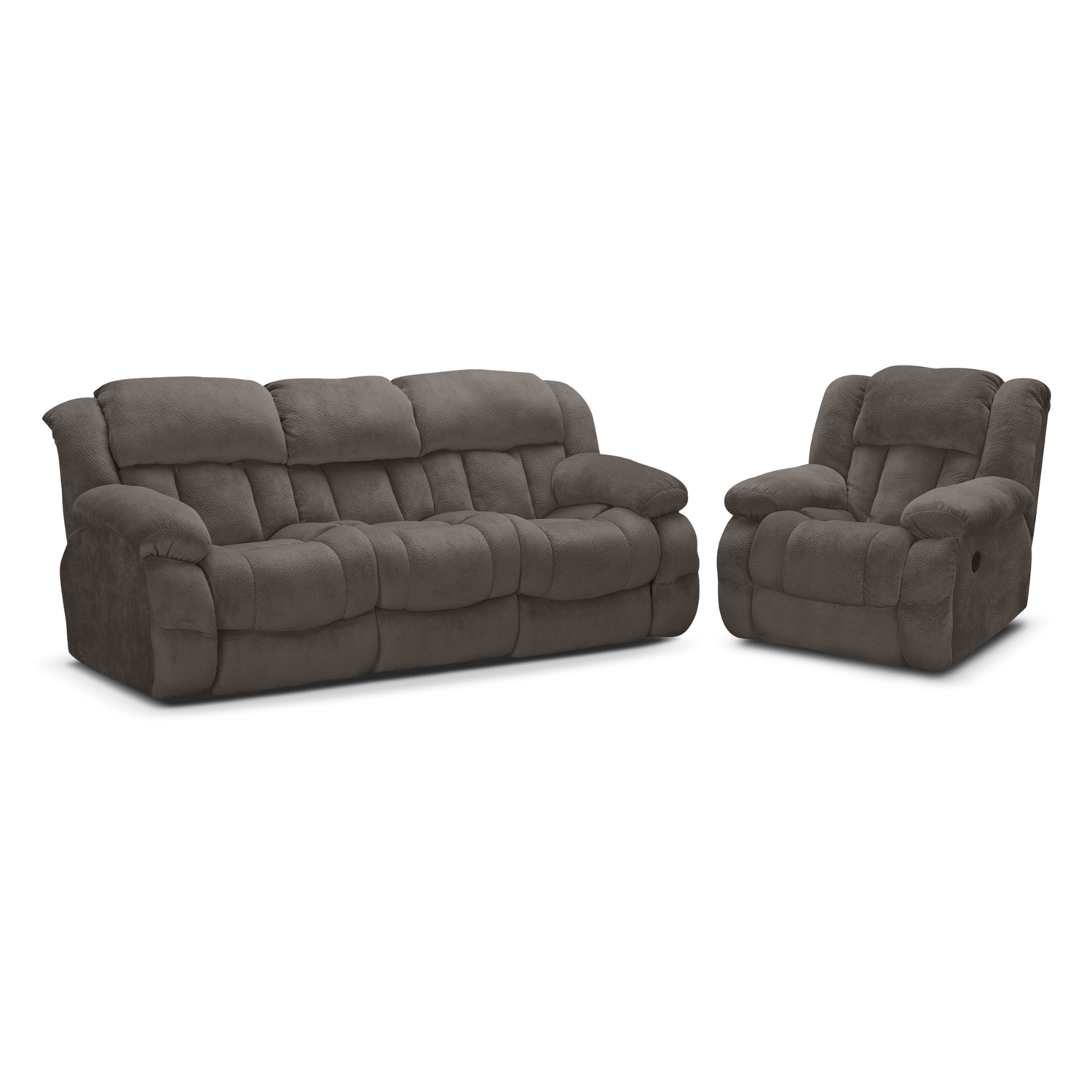 park city dual reclining sofa and glider recliner set gray