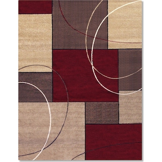Casa Circles and Squares 5' x 8' Area Rug - Brown and Beige