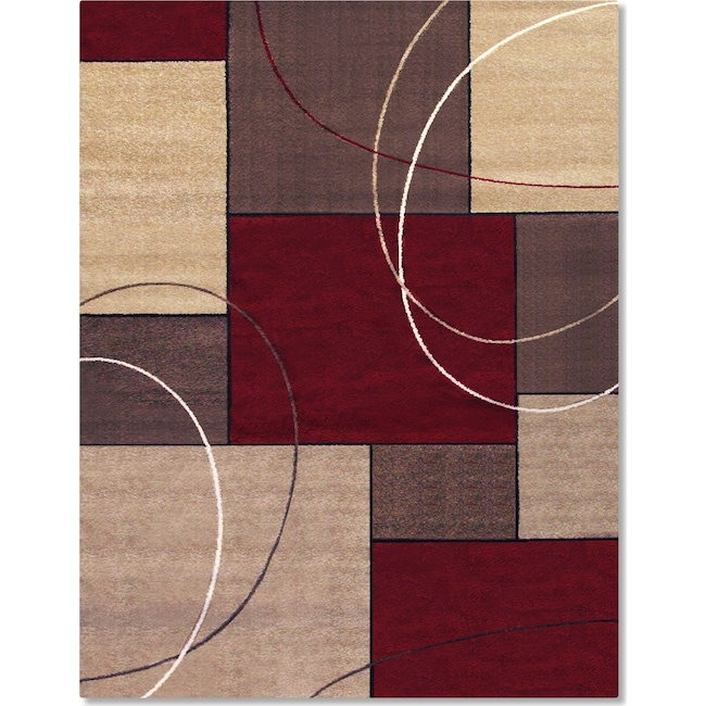 Rugs - Casa Circles and Squares Area Rug - Brown and Beige