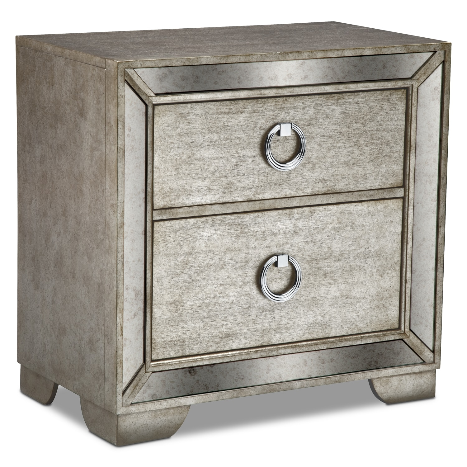 Bedroom Furniture - Angelina Nightstand - Metallic