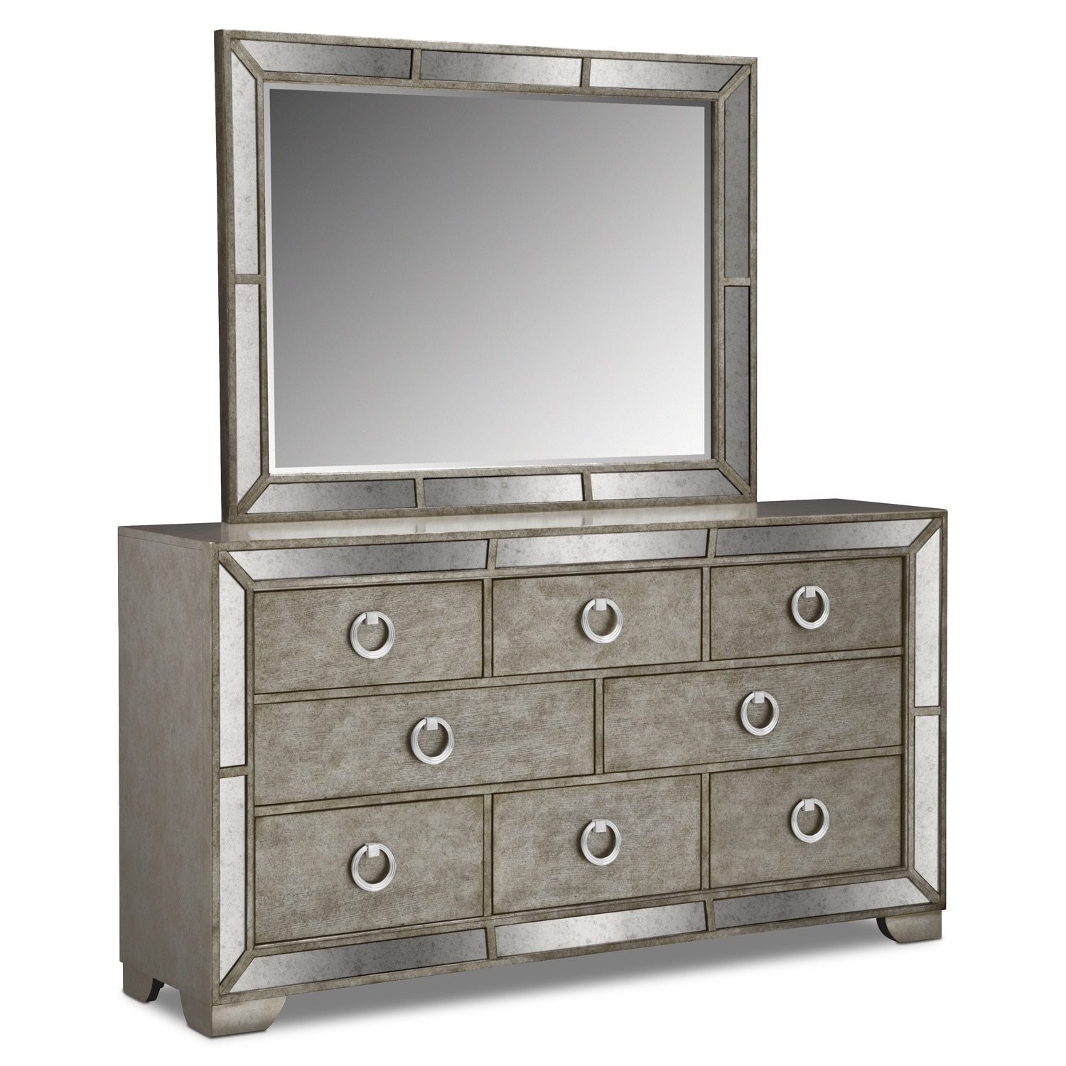 Angelina Dresser and Mirror - Metallic | Value City Furniture