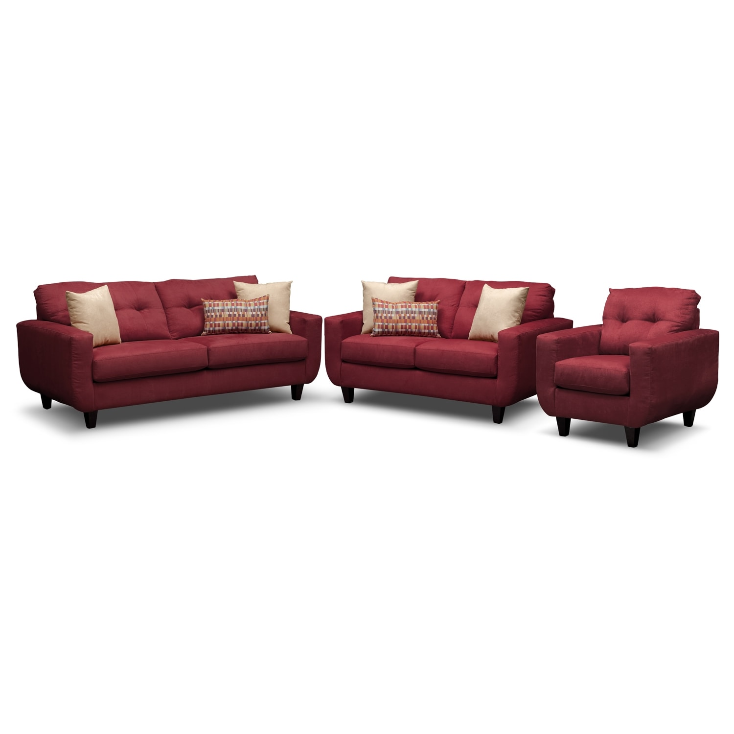 Living Room Furniture - West Village Red 3 Pc. Living Room