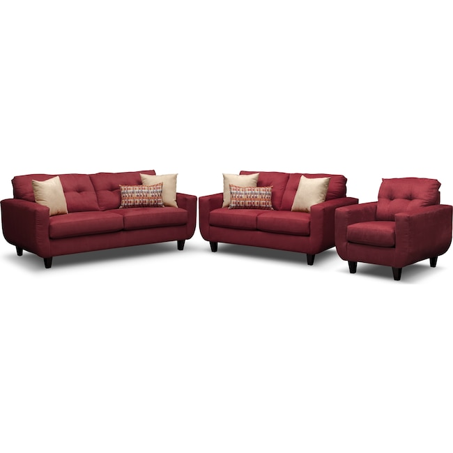 Living Room Furniture - West Village Sofa, Loveseat and Chair - Red