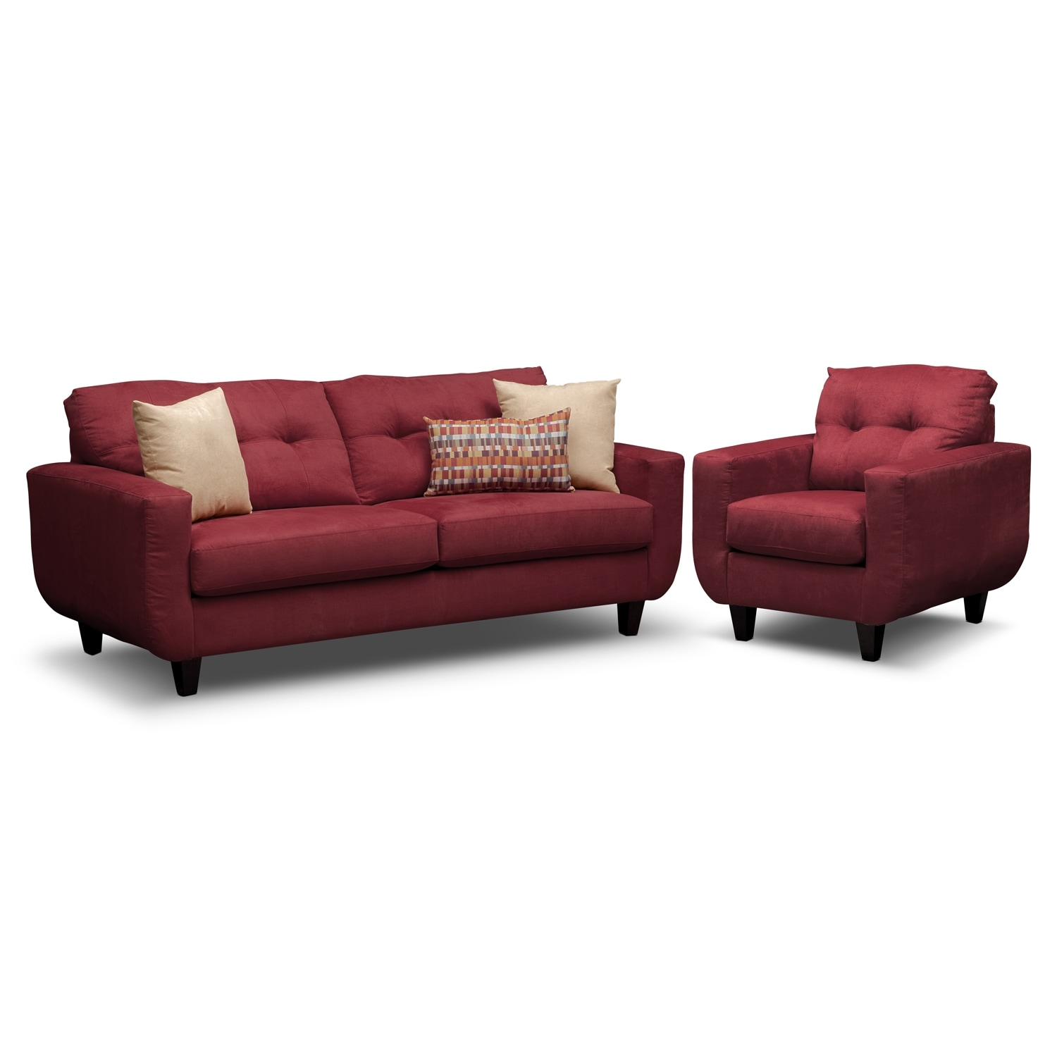 Living Room Furniture - West Village Red 2 Pc. Living Room w/Chair